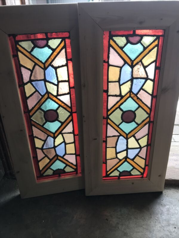 SG3614 Pair Antique Eastlake Stained Glass Windows 12.25 X 26.25