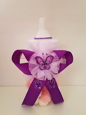 Baby Shower Purple Butterfly Centerpiece Girl Fillable Bottle Large Piggy Bank for sale  Highland