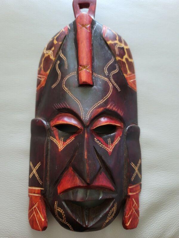 Authentic Vintage Kenyan Hand carved wooden african tribal mask