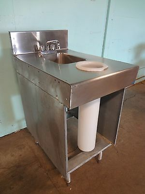 Stainless Steel Under Counter Hand Wash Sink W Faucet Back Splash Guard