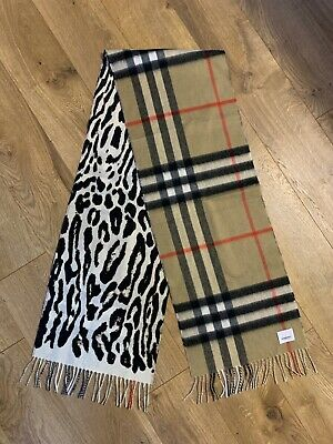 Burberry Giant Check and Leopard Print Cashmere Scarf