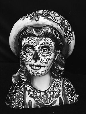 Day Of The Dead Girl Statue Sugar Skull Original Art Ooak Hand Painted Tattoo At (Day Of Dead Girl Tattoo)