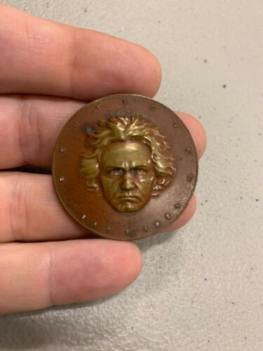 Vintage 1921 Beethoven Gold Bronze Coin Paperweight Medal
