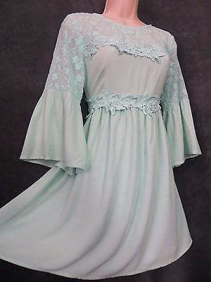 - NWT Dance & Marvel Mint Floral Embroidery Baby Doll Bell Cuff Hippy Mini Dress M