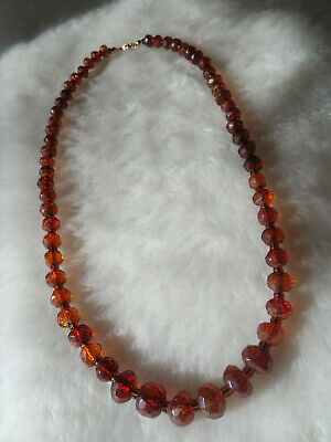 30 Long Faceted Cherry Amber Colored Phenolic Resin Necklace