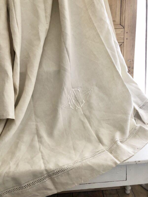 Antique LONG French PURE LINEN TROUSSEAU sheet OPENWORKS MC mono c1920