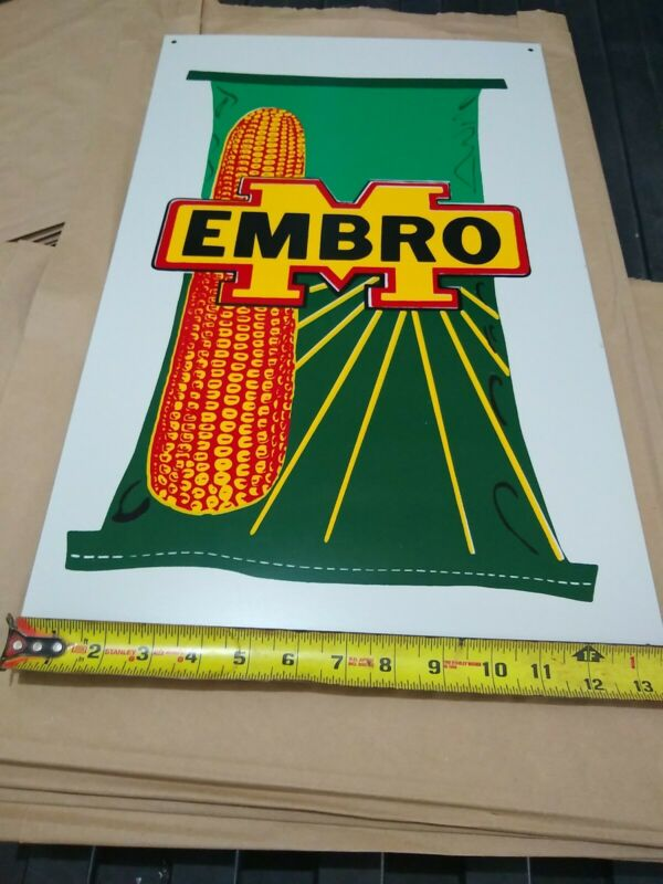 Embro Seed Corn Sign metal 14x22 man cave.pioneer becks,dekalb,