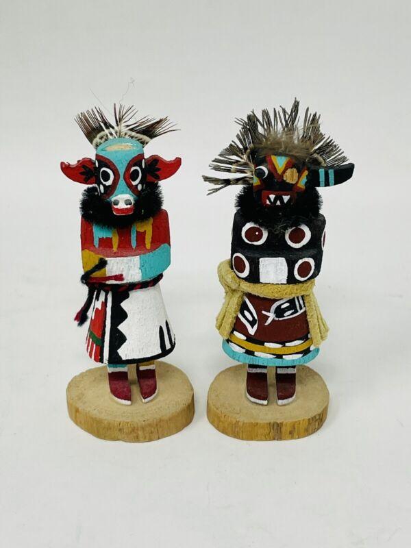 "Lot of (2) Miniature Hopi Native American Kachina Dolls - Signed ""LM"""