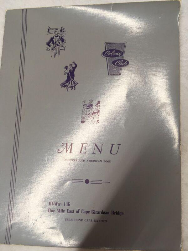 Restaurant Menu COLONY CLUB Restaurant  vintage Cape Girardeau Chinese American