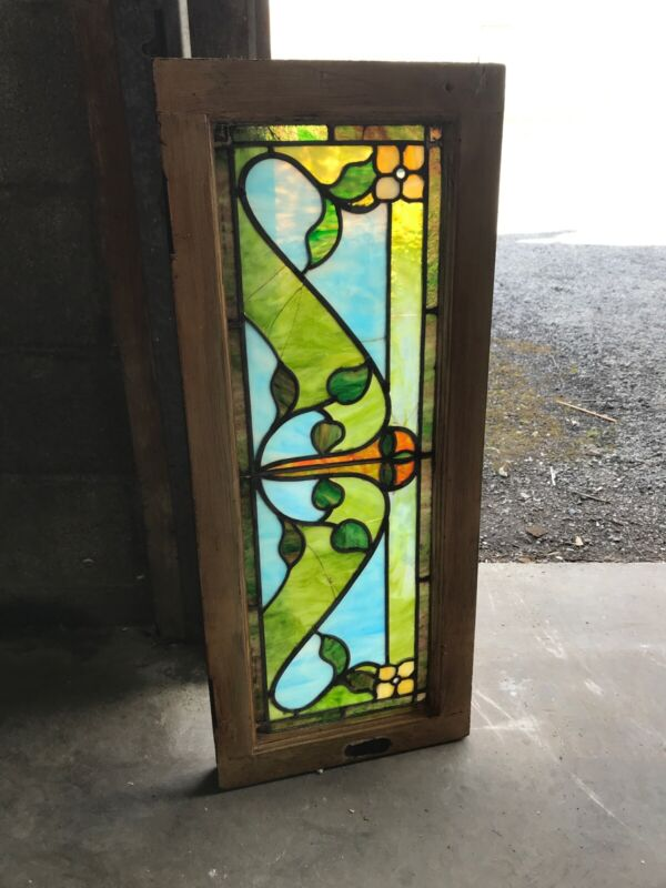 MK 31 Antique stained glass Celtic window 14 x 34