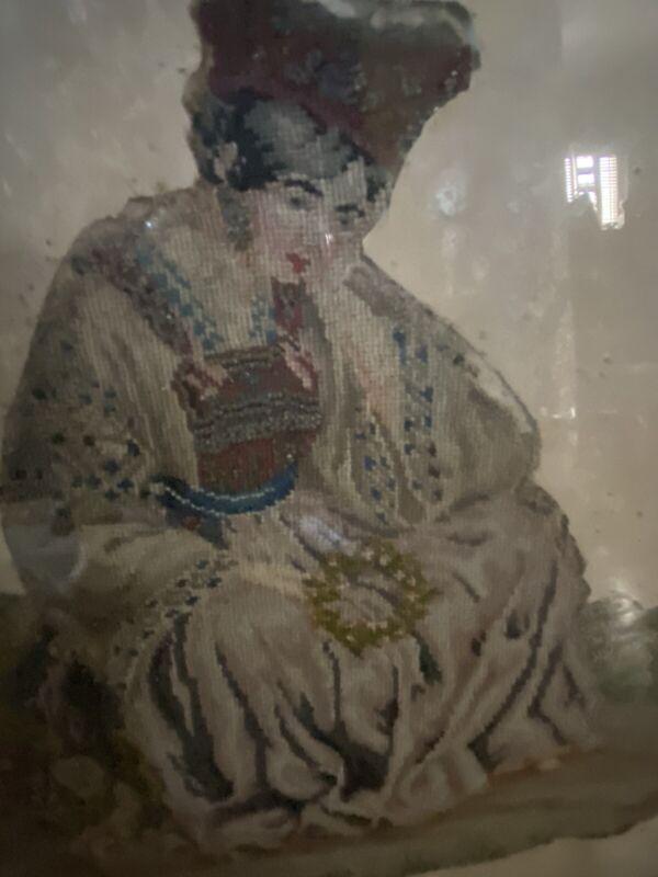 Antique Geisha Princess Beaded Needlework Early 1800's Original Frame Signed & #
