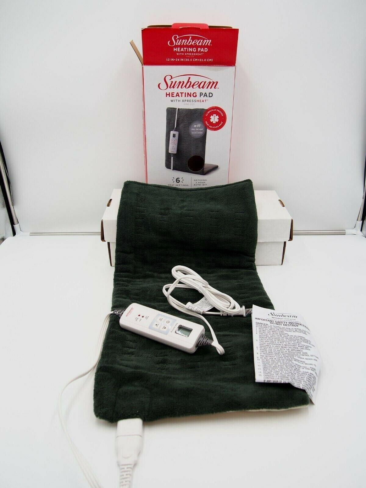 Sunbeam XpressHeat Heating Pad, King Size - Green