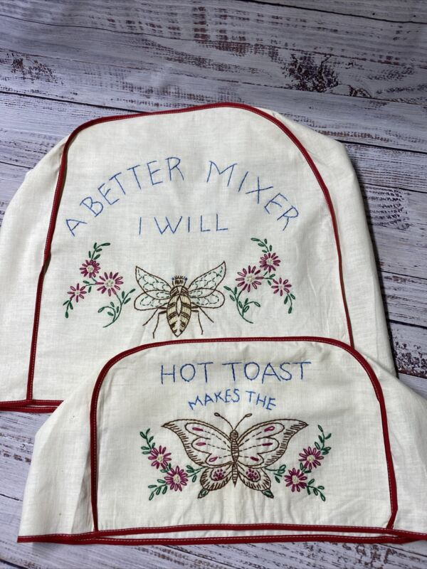 Vintage Muslin Stand Mixer and Toaster Covers With Butterfly And Bee