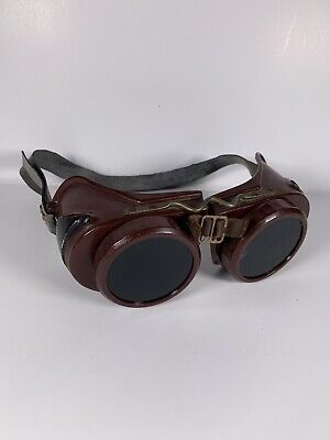 Vintage Welding Goggles Type B Welsh Mfg. Co. Steampunk Glasses Strap Two Lenses