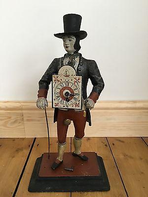 Antique Old German Swiss Polychrome Figural Clock