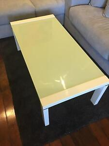 Harvey Norman coffee table white with acqua frosted glass Cremorne North Sydney Area Preview