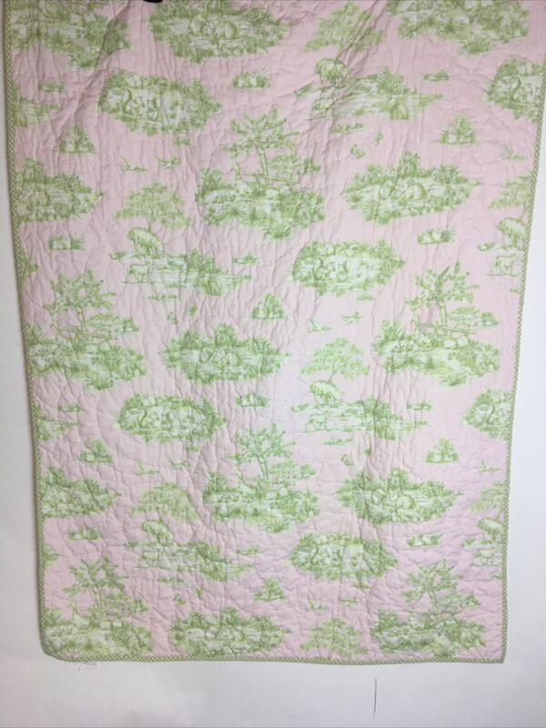 Pottery  Barn Baby Girl's Crib Quilt Blanket 51X38 In