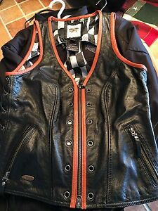 Ladies Harley Davidson Leather Vest -Size L
