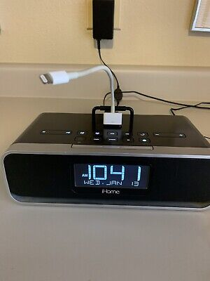 iHOME ID 92 Alarm Clock Radio Ipod Dock W Apple Lightning To 30 Pin Adapter