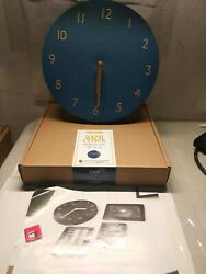 Navy, Deco Wall Clock 9 Silent Non-Ticking Quartz PU Leather Lightweight 0.4lb