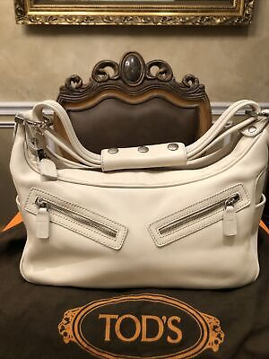 Tod's Miky Ivory White Leather Hobo Handbag No Reserve!!!