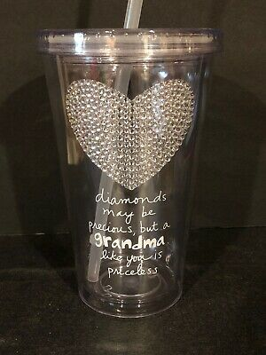 1 20 OZ. CLEAR LOVE GRANDMA  HEART OF DIAMONDS MOTHER'S DAY GIFT CUP MUG