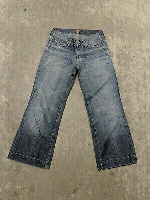 7FAM 7 Seven For All Mankind Dojo Medium Wash Orange Stitch Flare Denim Jeans 26 Seven For All Mankind Flare Jeans