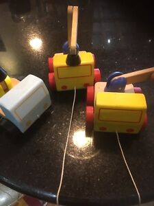Toy construction vehicles wooden
