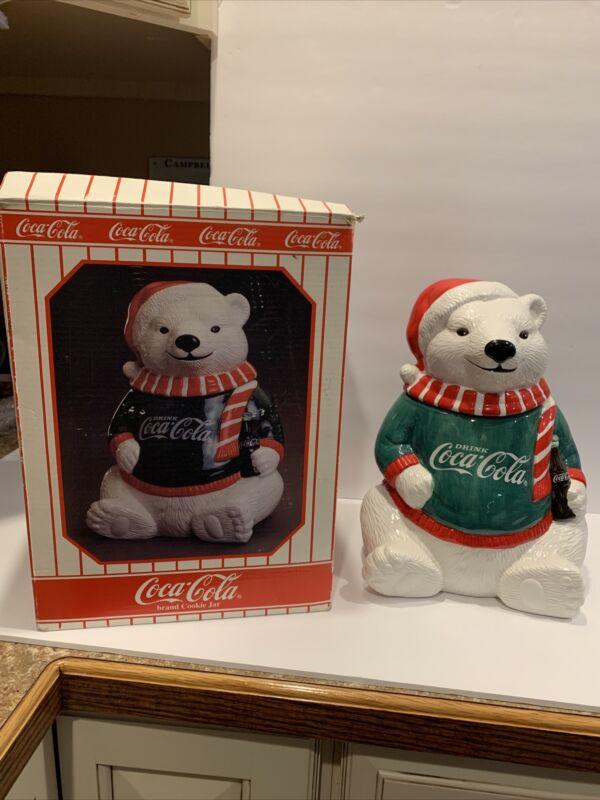 Vintage Coca Cola 1995 Limited Edition Polar Bear Cookie Jar In Original Box