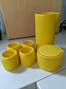 Ceramic milk jug, sugar bowl, egg cups, kitchen set