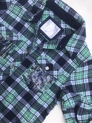 Girls JUSTICE  Navy Green PLAID L/Sleeve SPARKLE FLANNEL SHIRT Fashion TOP -