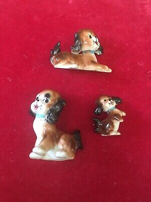 Puppy Dog Figurine (3) Lot Porcelain Brown White Animal Collectible Cocker