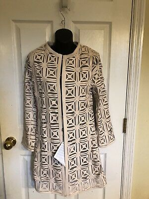 Caban Romantic Luxury Coat Made In Italy Genuine Leather Long Powder SzS $950 for sale  Mason