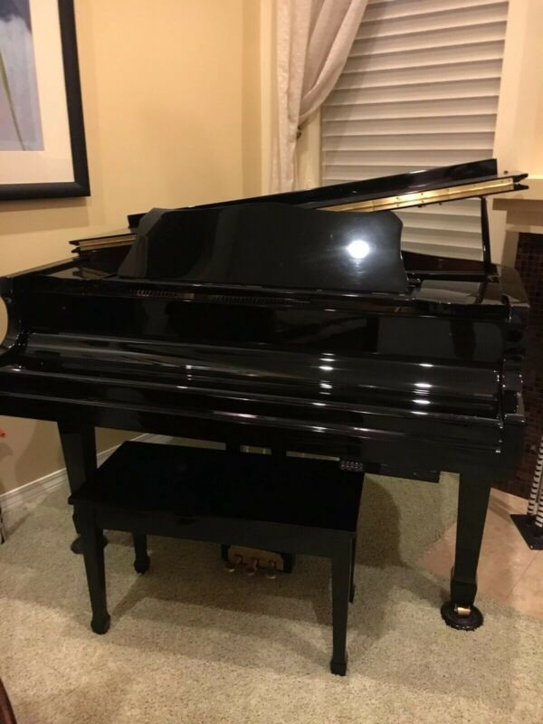 """Hobart Black 4'7"""" Baby Grand Piano With Self-Player System."""