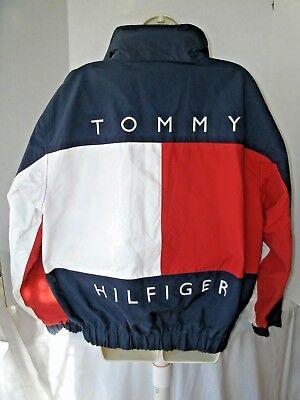 Vintage TOMMY HILFIGER Spell-Out FLAG Reversible Sailing Jacket Size M Blue Rare
