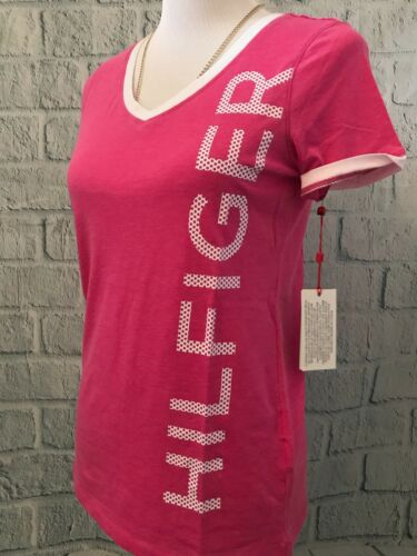 WOMEN'S TOMMY HILFIDER V-NECK TEE SHIRT- NEW SIZE S PINK AND WHITE