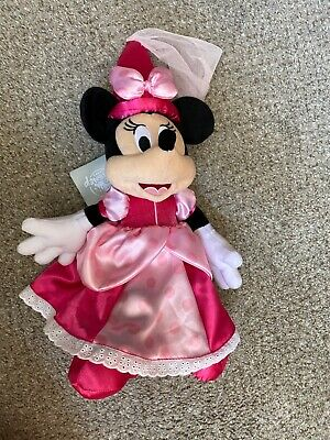 """Plush Minnie Mouse (Disney Parks Minnie Mouse 16"""" Princess Plush Toy Pink Satin Hat Dress Shoes)"""