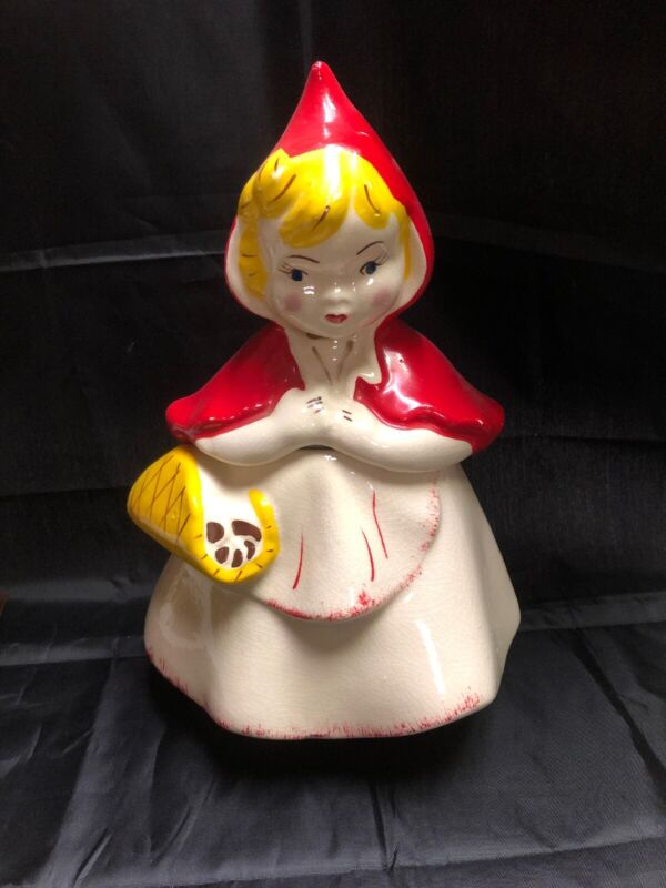 Vintage Ceramic Red Riding Hood Cookie Jar