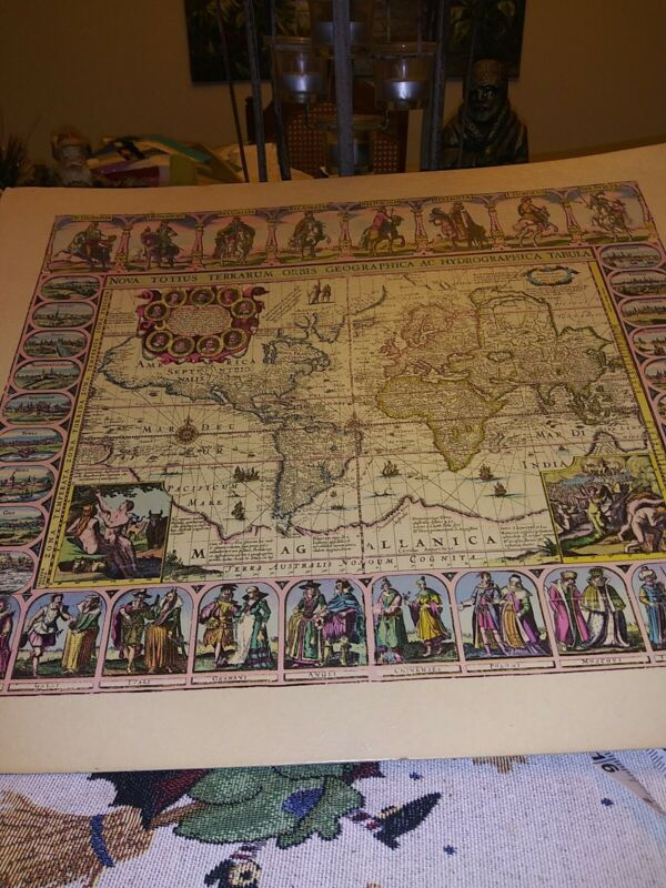 """VTG D.A.C NEW YORK LATIN OLD WORLD MAP LITHOGRAPH 20 x 16"""" Numb 1321"""