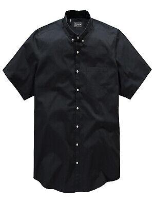 Jacamo Black Label BLACK Mens Pure Cotton Short Sleeve Shirt