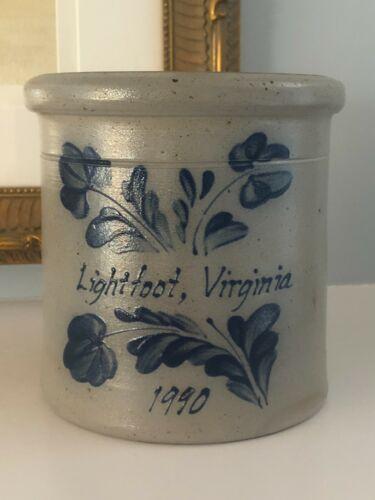 Rockdale Union Stoneware~Lightfoot Williamsburg Pottery VA Crock~1990