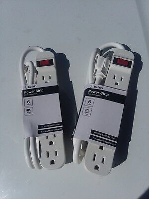 2x 6 AC Outlet Set Computer Electrical Surge Protector Power Strip 3Ft Plug Cord