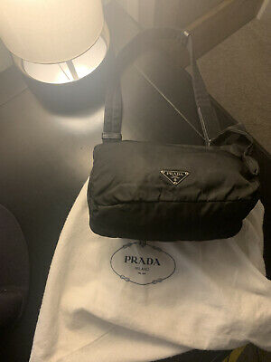 Authentic Prada Tessuto Black Nylon Shoulder Bag