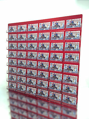 48 Pocket Business Card Holder Acrylic Wall Display Rack Transparent Red W Clear