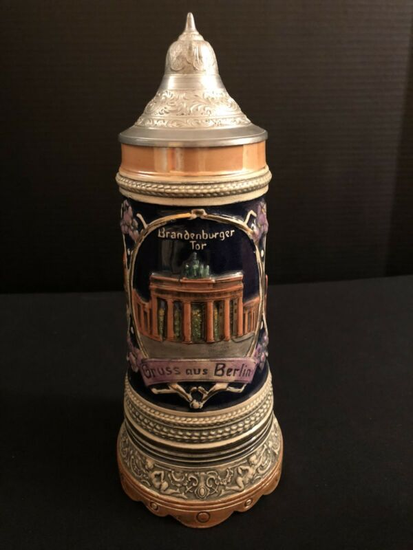 Vintage German Musical Lidded Beer Stein Gruss Aus Berlin Brandenburger Tor Dom
