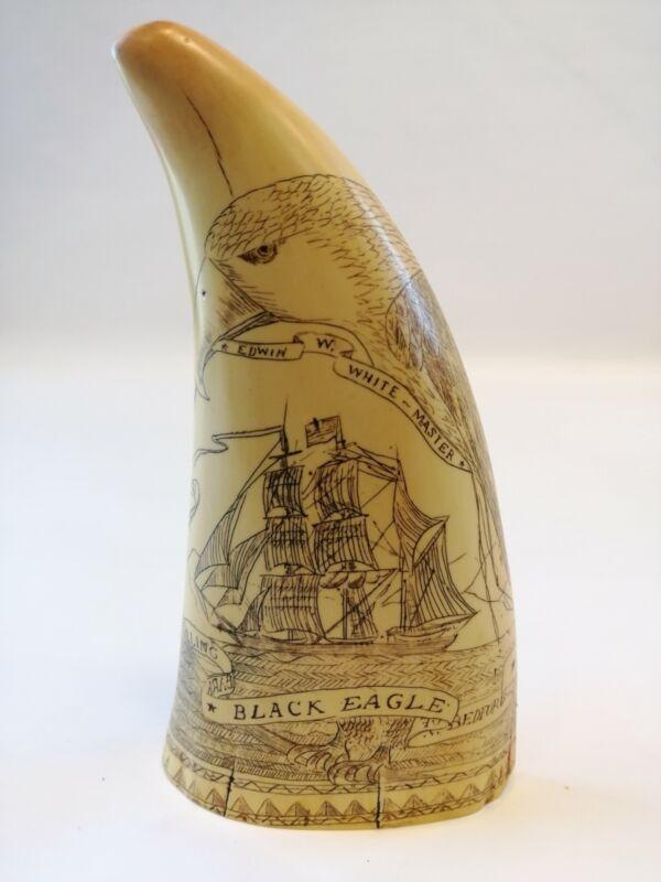 BIG vintage Artek liberty scrimshaw resin nautical sailboat replica whale tooth