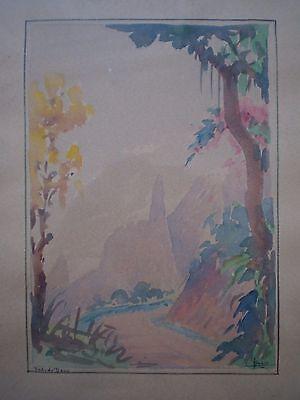Drawing Antique Brasil Watercolour Framed Sign Deco Painter Trip Fingers of Deus