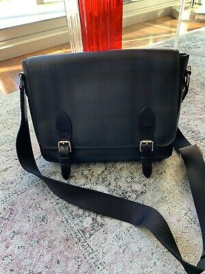 Burberry Check Canvas Messenger Bag Briefcase Authentic - Great Condition