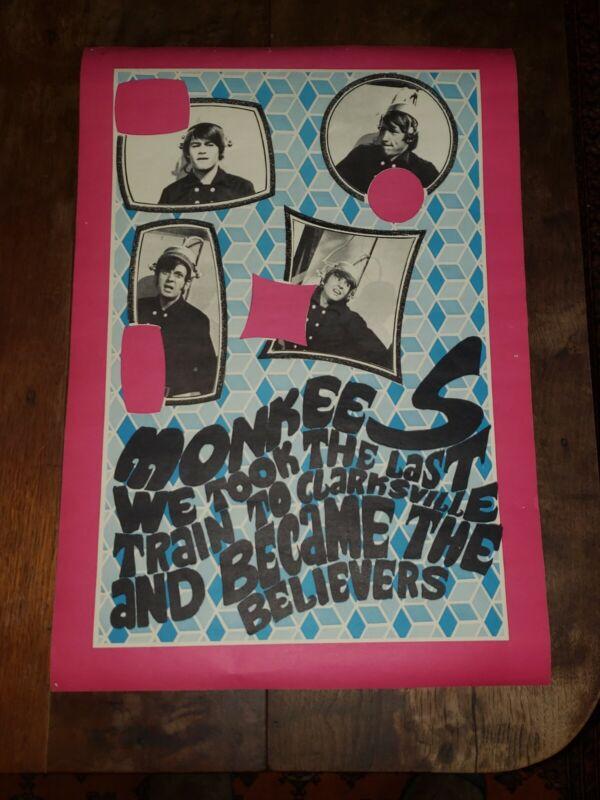 1960s Vintage THE MONKEES Psychedelic KONST Poster - Train Clarksville Believers