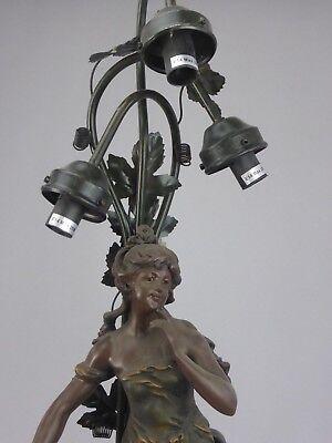 IMPOSANTE FIGURINE LAMPE DE TABLE LUMINAIRE STYLE 1900 ART NOUVEAU 86 CM